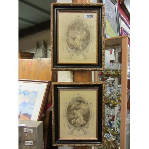 26 - Pair of prints in superb gilt and ebony frames....