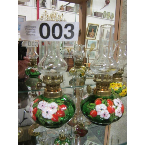 3 - Pair of miniature hand painted oil lamps. H:14cm...
