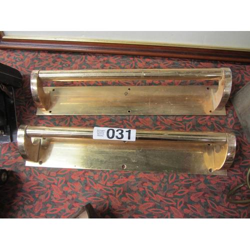 31 - Good pair of Antique brass door handles....