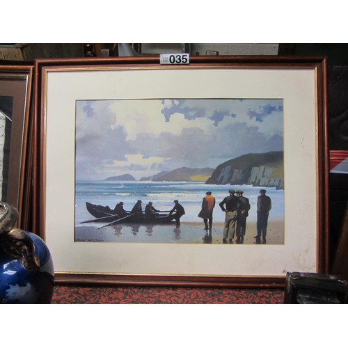 35 - Signed John Skelton print - Glass missing....
