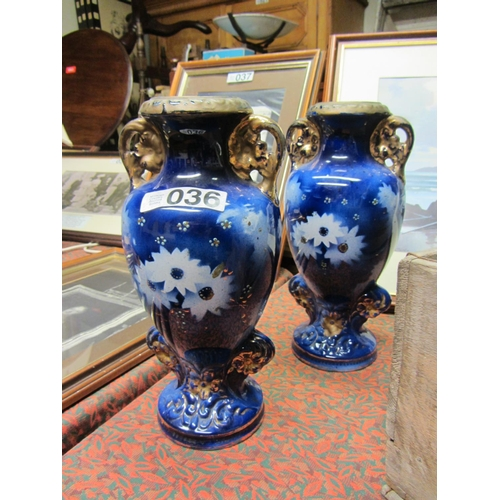 36 - Pair of Antique hand painted vases. H:37cm...