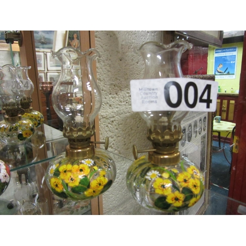 4 - Pair of miniature hand painted oil lamps. H: 14cm...
