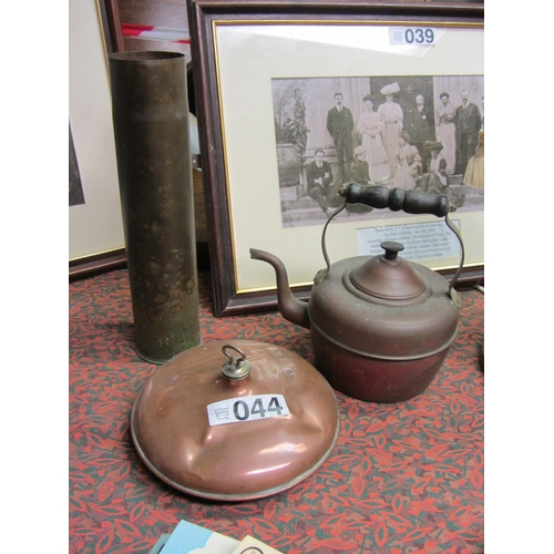 44 - Antique copper shell, copper kettle and copper bed warmer....