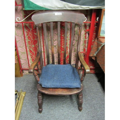 48 - Good antique elm country armchair....