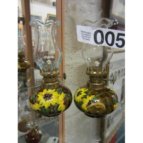 5 - Pair of miniature hand painted oil lamps. H:14cm....