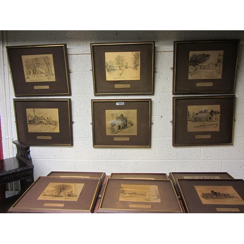 50 - 13 framed Dublin Scenes brass plaques signed - Brendan Scally....