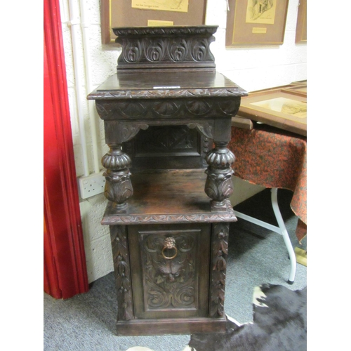 53 - Antique carved oak fall front coal cabinet with liner.  H: 112cm, W:46cm, D:46cm....