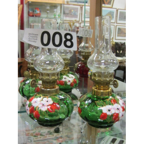 8 - Pair of miniature hand painted oil lamps. H:14cm...