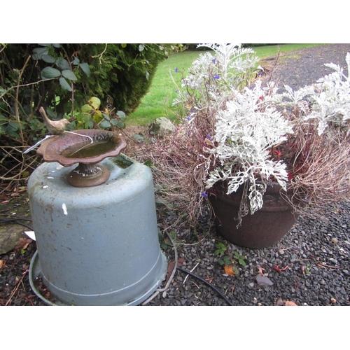 17 - Cast iron bird bath and planters....