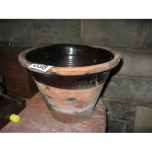 38 - Garden earthenware glazed crock....