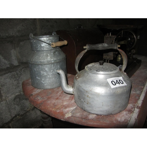 40 - Aluminium kettle and milk can....