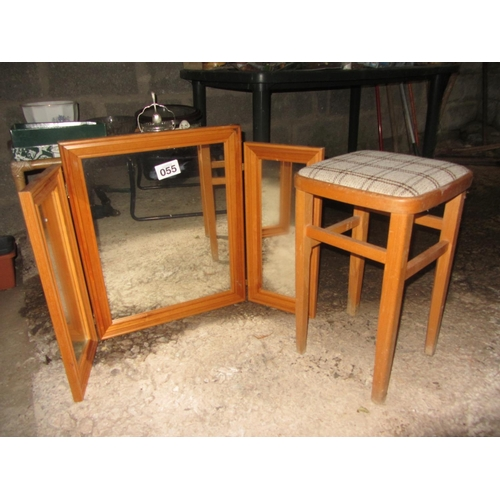 55 - 3 part mirror plus Kitchen stool....