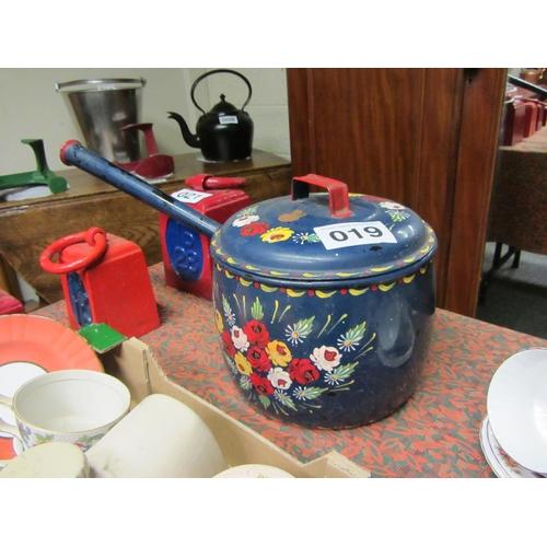 19 - Antique enamel painted pot....