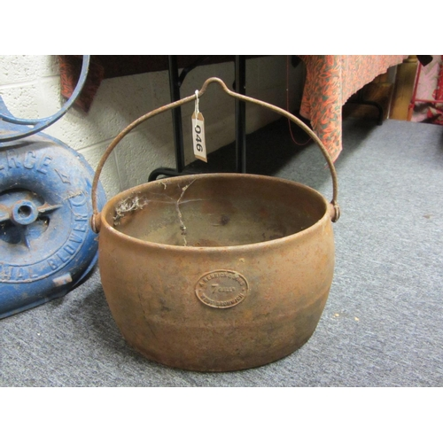 46 - Antique Cast Iron pot with handle....