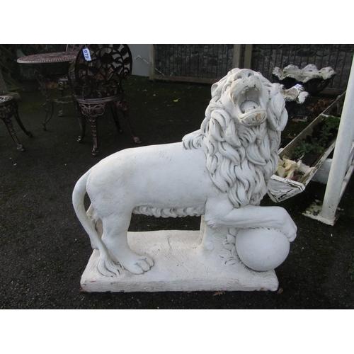 34 - Pair of Large garden Lion ornaments.  73cm x 70cm x 30cm.