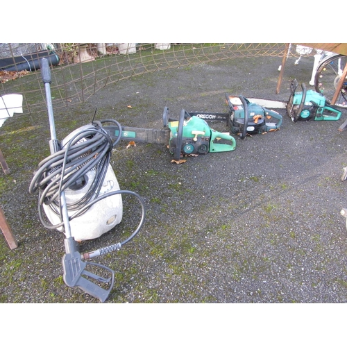 37 - Power washer plus 3 chain saws.