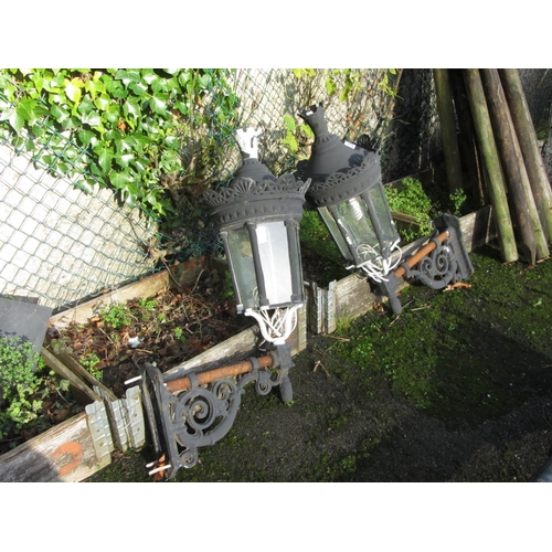 56 - Superb Pair of wall mounted antique garden lanterns. 90cm x 40cm.