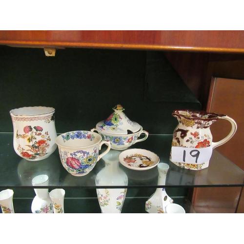 19 - Shelf of hand painted Mason ware.