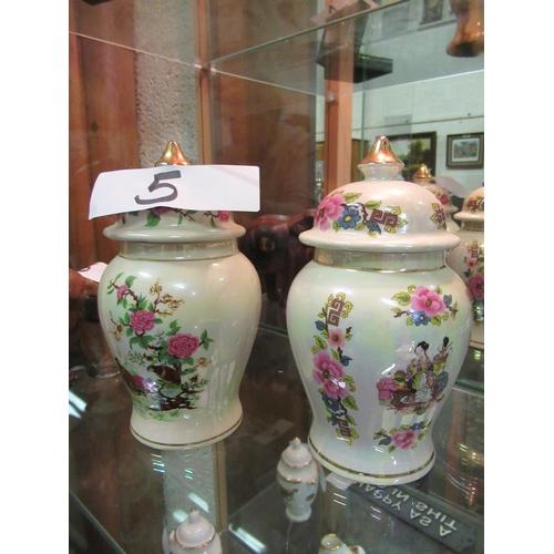 5 - 2 Hand painted Sadler urns.
