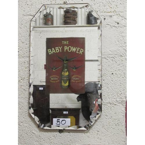 50 - Vintage Beveled edge Baby Power advertising mirror.