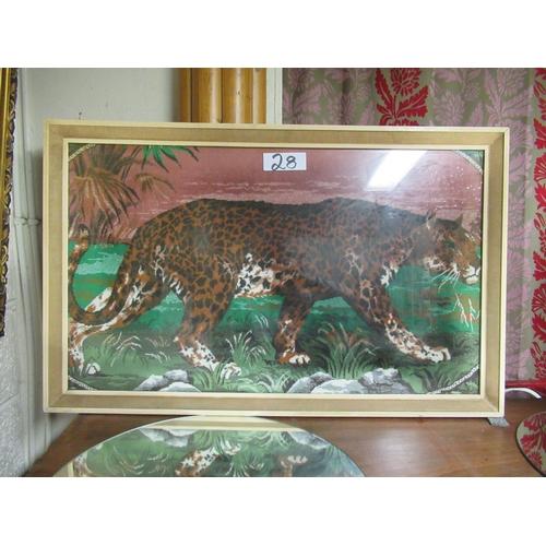 28 - Framed Cheetah on cloth.