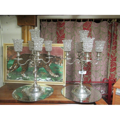 30 - Pair of 5 branch candle holders with mirrors. Originally from Bellingham Castle. H:74cm.