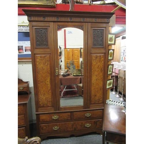 38 - Victorian walnut wardrobe with beveled mirror door plus 3 drawers.  H:210cm, W:132cm, D:55cm.