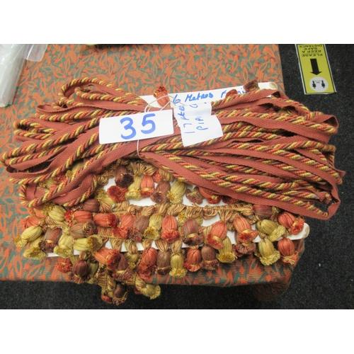 35 - 17 meters of piping cord plus 6 meters of designer decorative fringe.