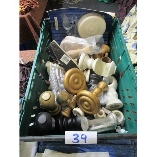 39 - Job lot of assorted tie back holders plus curtain accessories.