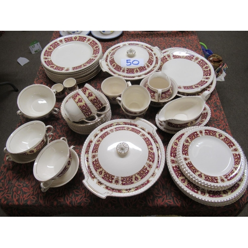 50 - 53 pieces of hand painted Old English Johnson Bros dinner and tea ware.