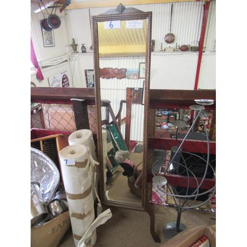 6 - Oak easel free standing Cheval mirror. 150cm x 33xm