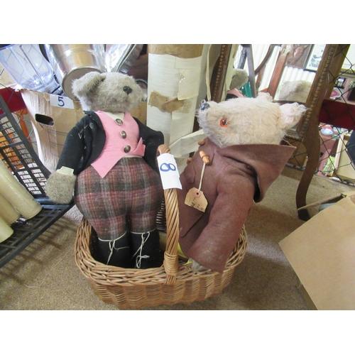 8 - 2 stuffed teddies in wicker basket. Paddington bear and other.