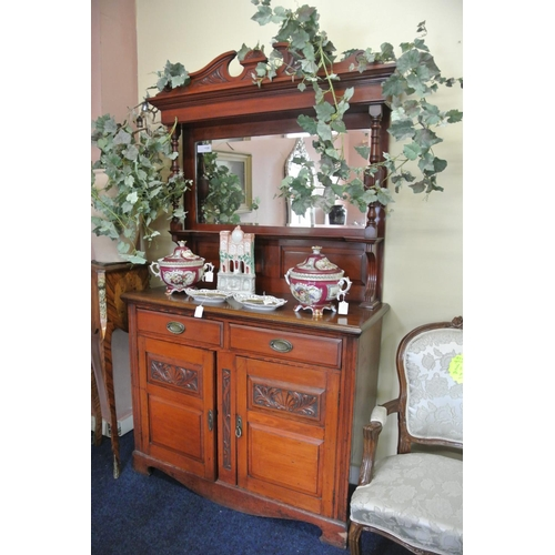 37 - An antique carved Victorian/ Edwardian mirror back sideboard....