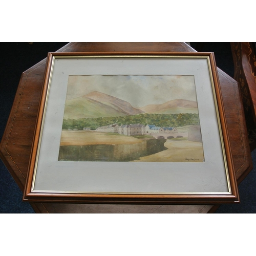 44 - An original framed watercolour painting of a village scene, signed by the Artist, Roy MacIvor....