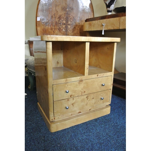 46 - An Art Deco style bedside unit with drawers to base....