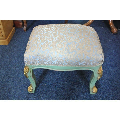 49 - An antique style gilt framed footstool with reupholstered top....