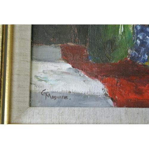58 - An original framed oil on canvas still life painting by Castlerock Artist, Gerald Maguire....
