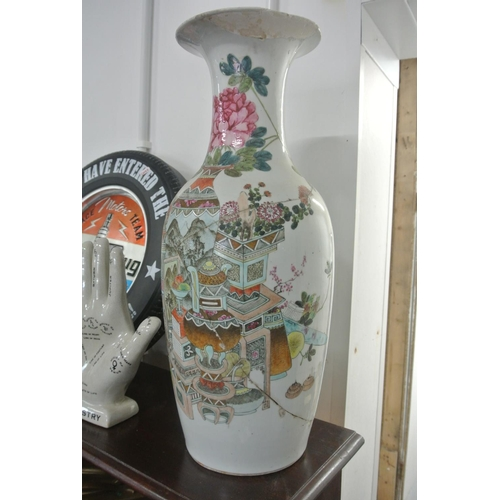 15 - A stunning large antique Chinese/ Oriental vase/ stick stand, measuring 60cm tall (a/f)....