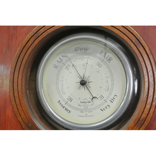 27 - A large scratch built wall clock with decorative brass fittings & barometer....