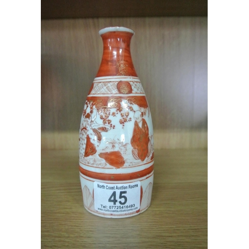 45 - A stunning antique Oriental/ Japanese vase with hand painted scenes & signature to base....