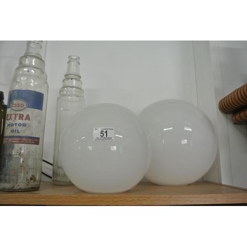 51 - 2 large white glass globe shades....