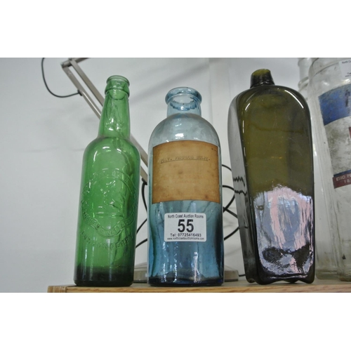 55 - A collection of vintage/ antique glass bottles....
