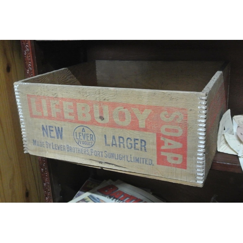6 - A vintage wooden Lifebuoy Soap advertising crate....