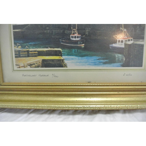 13 - A limited edition print Portstewart Harbour signed R Willis...
