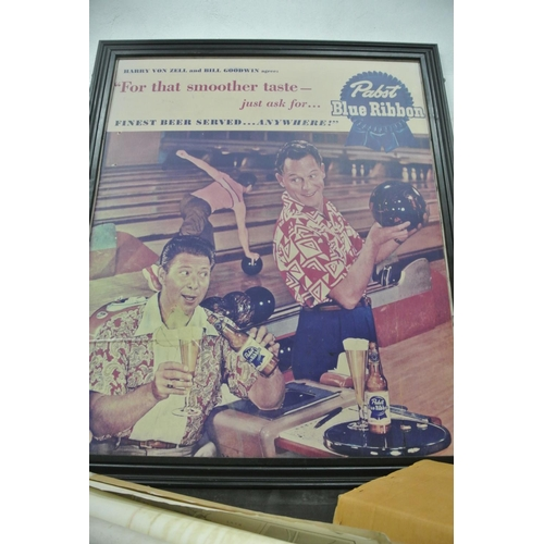 19 - A large Pabst Blue Ribbon framed advertising poster...