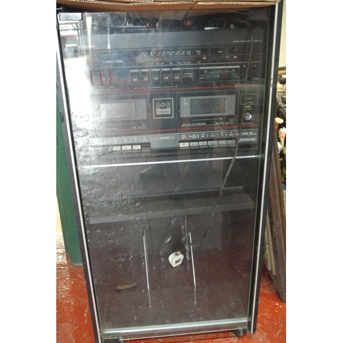 2 - A Toshiba hifi cabinet with turntable...