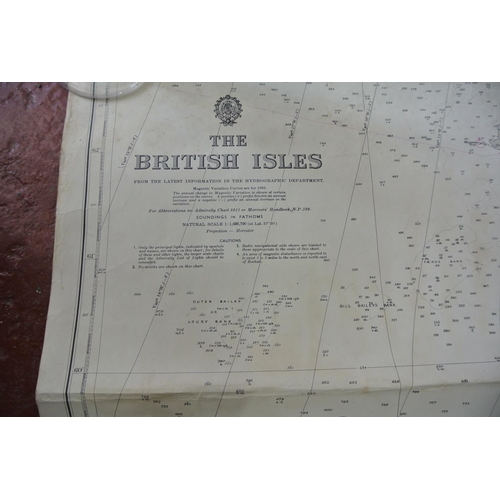 20 - A large nautical chart of the British Isles...