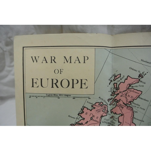 27 - A coloured War map of Europe. 45cm x 55cm...