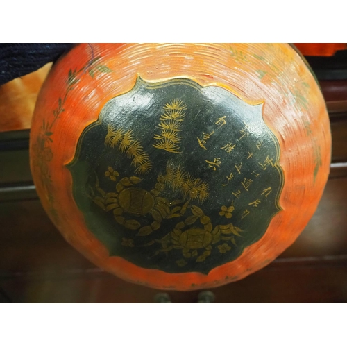 19 - An antique Oriental/ Chinese dumpling carrier with crab design....