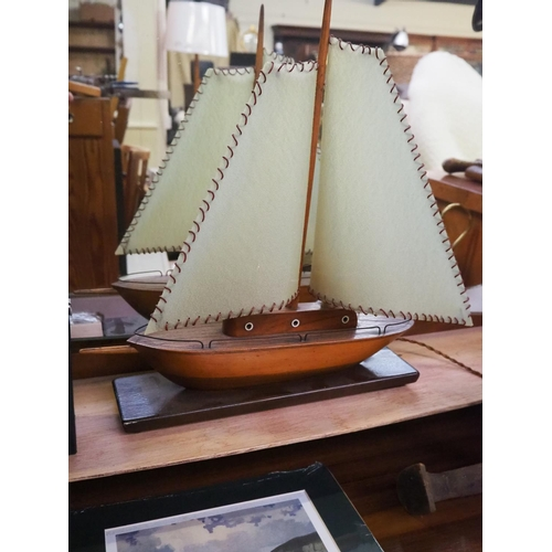 29 - A vintage lamp modelled as a sail boat/ yacht....